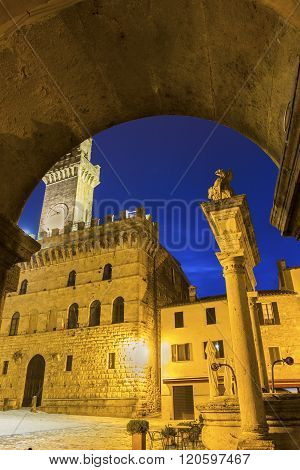 Communal Palace in Montepulciano in Italy in the evening