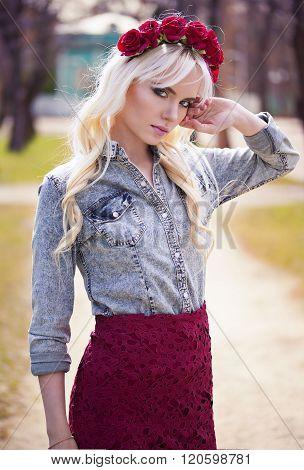 Lovely Blonde Model In Posing Outdoors