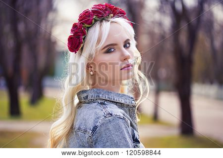Portrait Of Beautiful Blonde Woman With Perfect Makeup