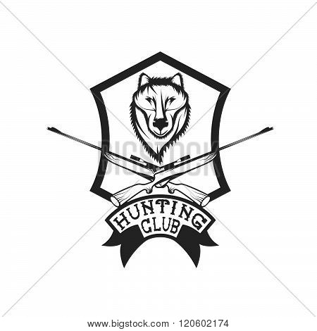 Hunting Club Crest With Carbines And Wolf