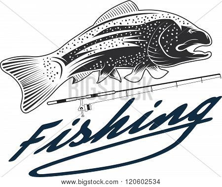 Vintage Fishing Vector Design Template . Concept Of Graphic Clipart Work