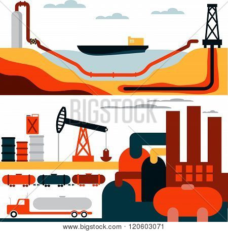 Oil Industry Business Concept Of Gasoline Diesel Production Fuel Distribution And Transportation