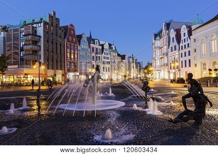 ROSTOCK, MECKLENBURG-VORPOMMERN, GERMANY - OCTOBER 10, 2015:  View on Rostock in Germany in the evening