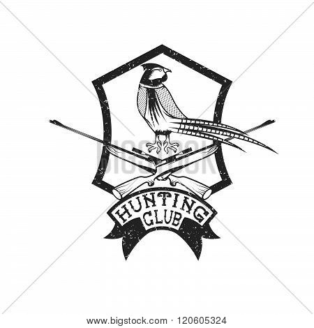 grunge hunting club crest with carbines and pheasant