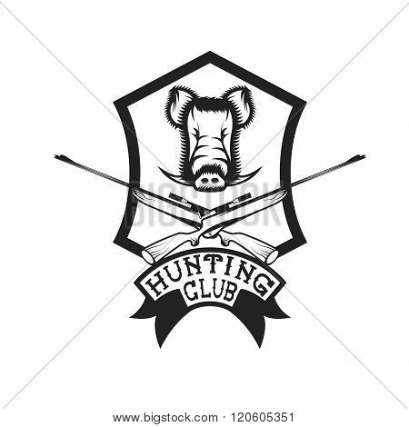 hunting club crest with carbines and boar
