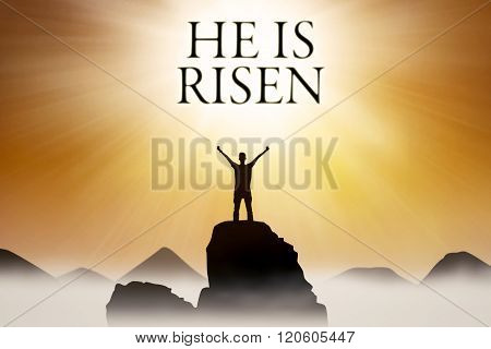 Christian Person And Text He Is Risen
