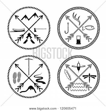 Adventure Vintage Grunge Labels With Rope And Cross Arrows
