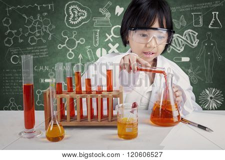 Little Chemist Doing Experiment