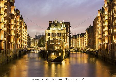 Wasserschloss In The Speicherstadt In Hamburg In Germany