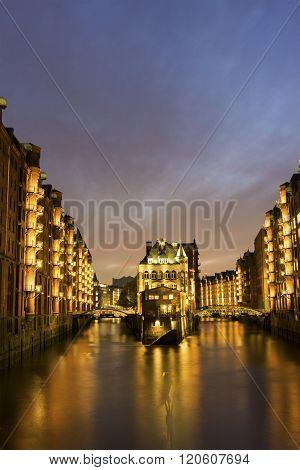 Wasserschloss In The Speicherstadt In Hamburg In Germany
