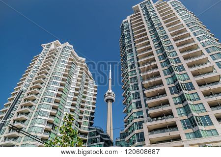 beautiful view of modern inviting condo buildings with CN tower between against deep blue sky