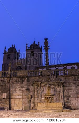 PORTO, NORTE, PORTUGAL - DECEMBER 7, 2015:  Cathedral and Pillory of Porto in Portugal