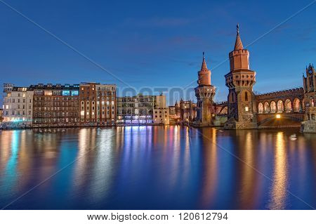 The Oberbaum Bridge and the River Spree in Berlin at dawn