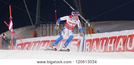 STOCKHOLM SWEDEN - FEB 23 2016: Frida Hansdotter (SWE) skiing at the Audis FIS Alpine Ski World Cup city event February 23 2016 Stockholm Sweden