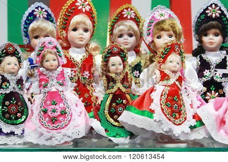 Traditional Hungarian Handmade Toys Puppets Dolls In Symbolic Artistic Dress