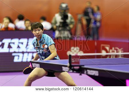 KUALA LUMPUR, MALAYSIA - MARCH 01, 2016: Zhu Yuling of China plays a return shot in her match in the Perfect 2016 World Team Table-tennis Championships held in Kuala Lumpur, Malaysia.