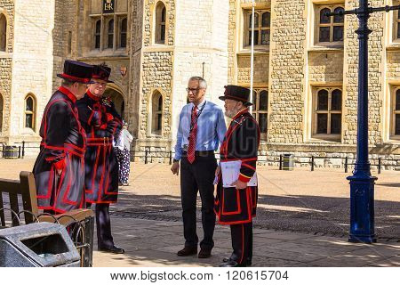 LONDON UK - JUNE 6 2015 Yeomen Warders of Tower of London (Beefeaters). Beefeaters are ceremonial guardians of the Tower of London.