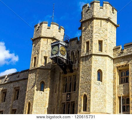 LONDON UK - JUNE 6 2015: The south face of the Waterloo Block - Entrance into the vault of the royal jewels in Tower of London. UK