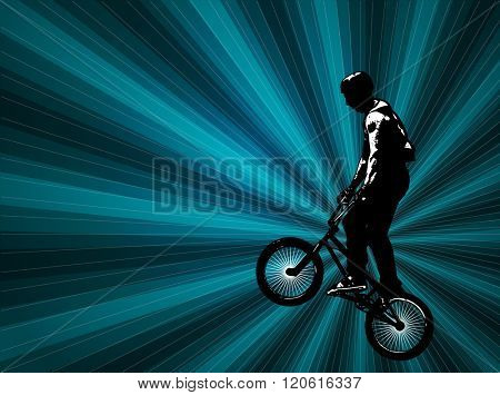 bmx stunt cyclist on the abstract background - vector