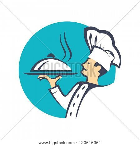 chef icon with tray of food in hand