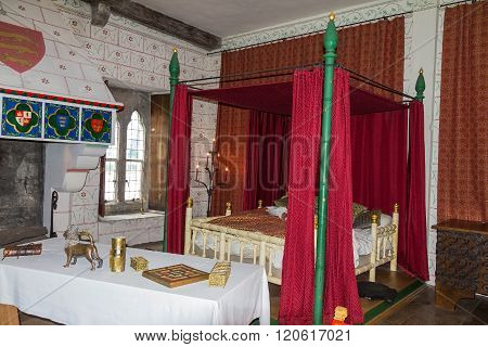 LONDON UK - JUNE 6 2015: A recreation of Edward I's bedchamber in St Thomas's Tower. Tower of London