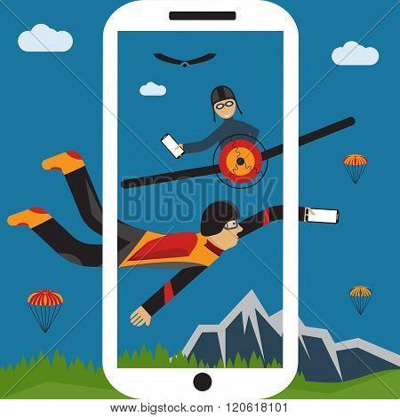 Extreme Selfie Parachutist And Pilot Flat Design Illustration