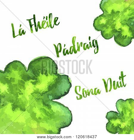 Elegant Watercolor St. Patrick Day Greeting Card