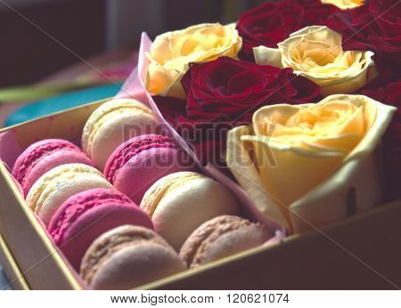Macaroon And Box With Flowers Roses Background