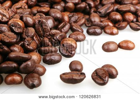Coffee Beans Isolated On White Background Stock Photos