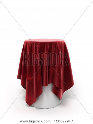Round Red Velor Cloth On A Round Pedestal Isolated On White
