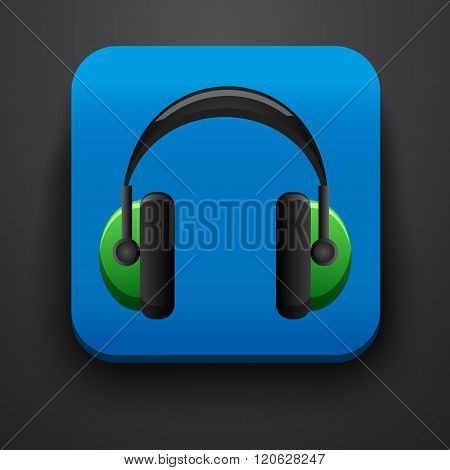 Headphone symbol icon on blue