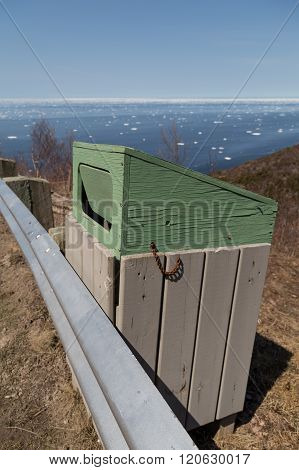 Wooden Garbage At Cabot Trail
