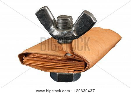 No Money, Poverty, Bolt. Thin Leather Wallet Isolated On White