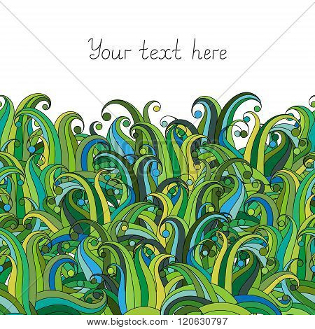 Doodle grass seamless border pattern. May be used like an Invitation card design. Vector stock illustration.