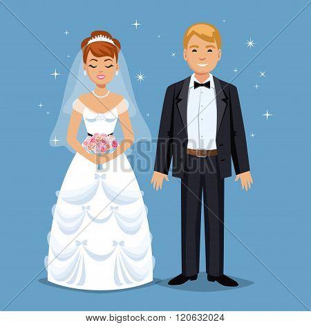 Cute Bride And Groom, Wedding Party Set Illustration. Cartoon Wedding People Couple. Vector