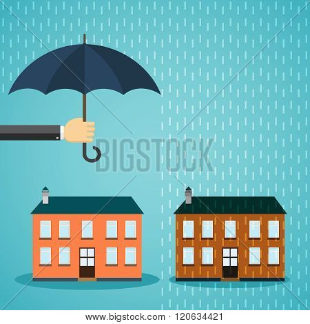 Hand with umbrella protecting house.