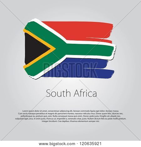 South Africa Flag With Colored Hand Drawn Lines In Vector Format