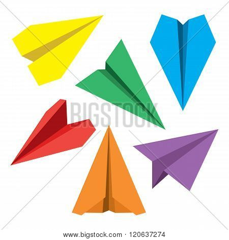 Paper plane navigational flat icons set. Collection of paper origami airplane symbols. Six vector icons of papercraft planes. EPS8 vector illustration.