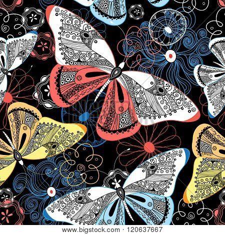 Graphic Pattern Fancy Butterflies