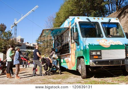 People Stand In Line To Order From Atlanta Food Truck