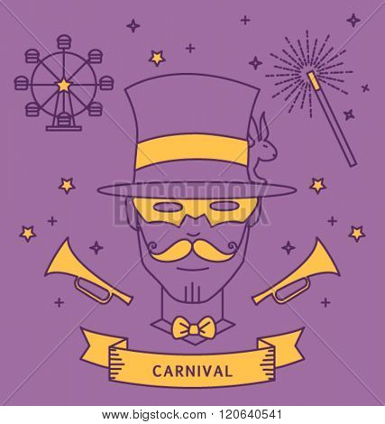MAGICIAN CARNIVAL COSTUME OUTFIT. Party portrait, line art, monoline style. Editable vector illustration file.