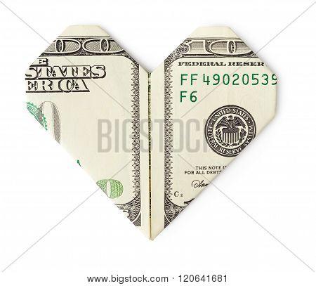 One Hundred Dollars Folded Into Heart Isolated