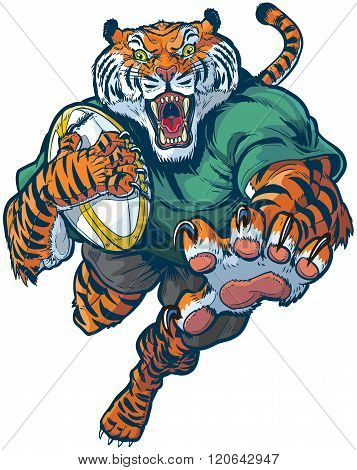 Tiger Rugby Mascot Vector Illustration