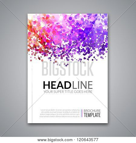 Business report design, flyer template, background with colorful dots. Brochure Cover template mocku