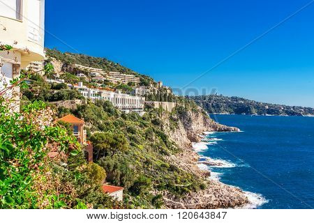 Panoramic View Of Villefranche-sur-mer, Nice, French Riviera.