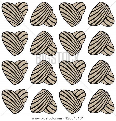 Abstract heart with stripes. Vector seamless