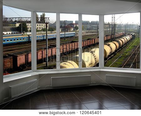 view from controllers office to the trains and railways