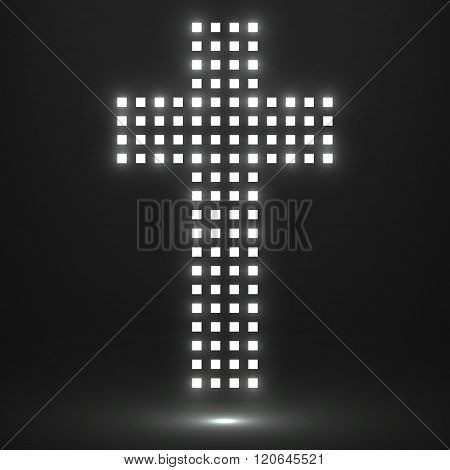 Abstract cross of pixels. Christian Symbol