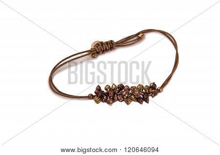 Bracelet With Pearls, Zirconium And Beads Onr White.