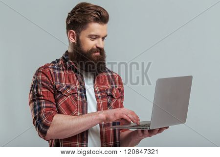 Bearded Man With Gadget